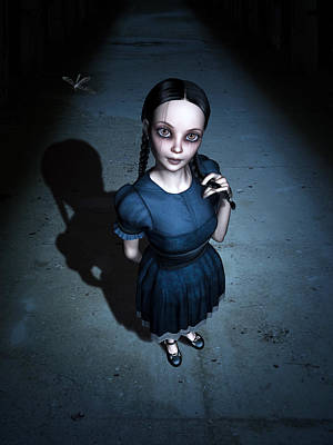 Creepy Mixed Media - Little Miss Innocent by Britta Glodde