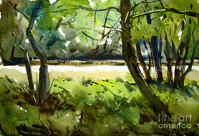 Painting - Little Mississinewa Running Wild Matted Glassed Framed by Charlie Spear