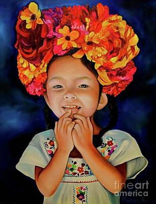 Mexican Sister Painting - Little Ms Vela by Barbara Rivera