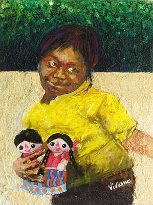 Muneca Painting - Little Muneca Seller In Yellow by Vivian Crowhurst