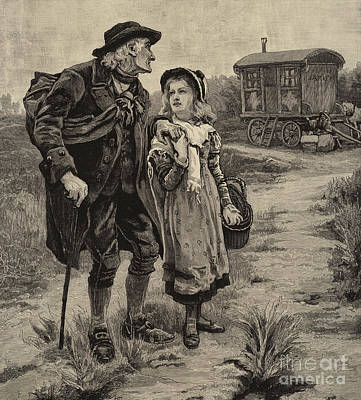 Joyful Drawing - Little Nell And Her Grandfather  by Frederick Morgan