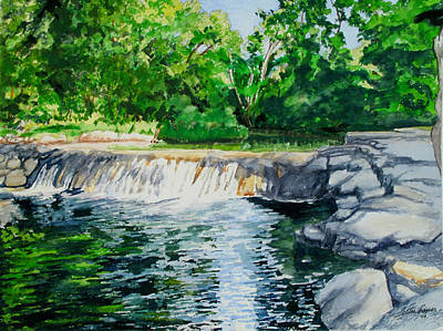 Little Niagra Falls On Travertine Creek Chickasaw National Recreation Area Sulphur Oklahoma Art Print by Wes Loper