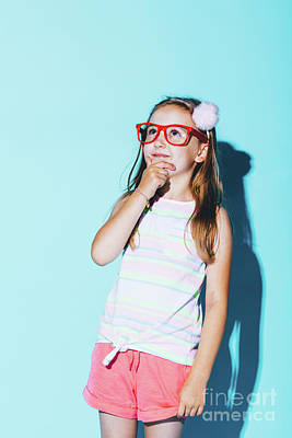 Photograph - Little Pensive Girl In Red Glasses Rubbing Her Chin by Michal Bednarek