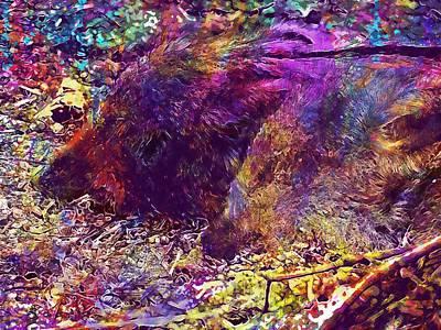 Digital Art - Little Pig Animal Children Nature  by PixBreak Art