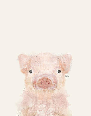 Pig Wall Art - Painting - Little Pig by Bleu Bri