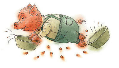 Pig Drawing - Little Pig by Kestutis Kasparavicius