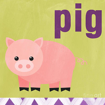 Room Wall Art - Painting - Little Pig by Linda Woods