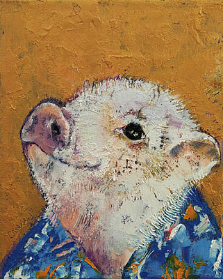 White Shirt Painting - Little Piggy by Michael Creese