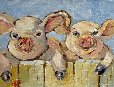 Whimsical Painting - Little Pigs by Delilah  Smith