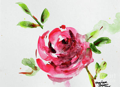 Painting - Little Pink Rose Bud Watercolour by CheyAnne Sexton