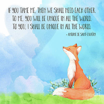 Little Prince Fox Quote, Text Art Print by Tina Lavoie