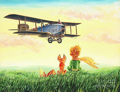 Georgio Painting - Little Prince, The Fox And The Pilot. by Georgios Moris