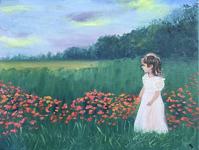 Painting - Little Princess Of The Marigolds  by Susan Brooks