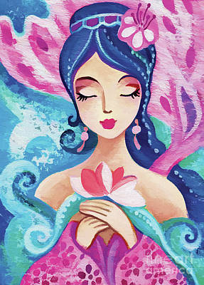 Painting - Little Quan Yin Mermaid by Eva Campbell