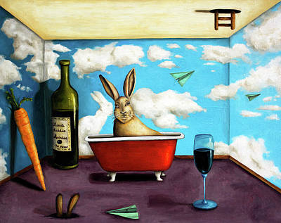 Red Wine Painting - Little Rabbit Spirits by Leah Saulnier The Painting Maniac