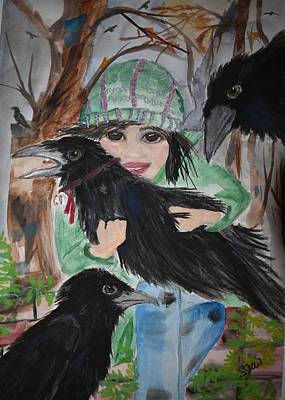 Painting - Little Raven In The Forest by Susan Voidets