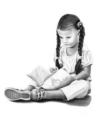 Drawing - Little Reader  by Murphy Elliott