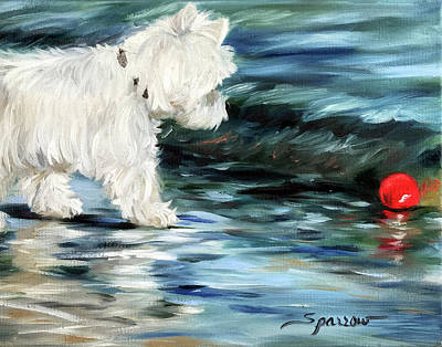 Water Retrieve Painting - Little Red Ball  by Mary Sparrow