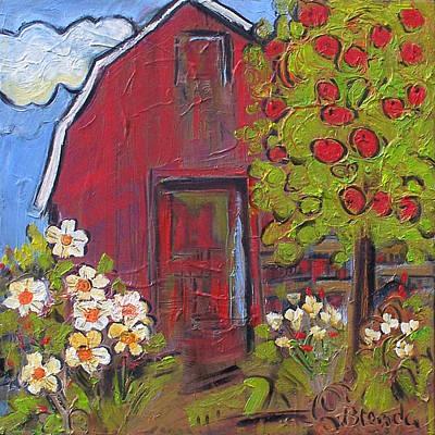 Square Flower Painting - Little Red Barn by Blenda Studio