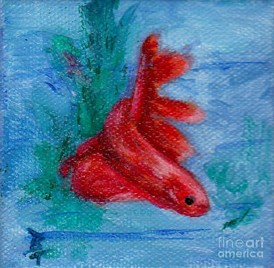Little Red Betta Fish Art Print