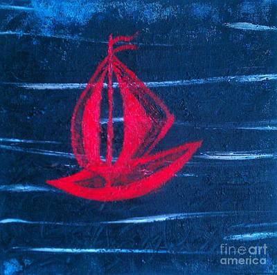 Art Print featuring the painting Little Red Boat  by Jacqueline McReynolds