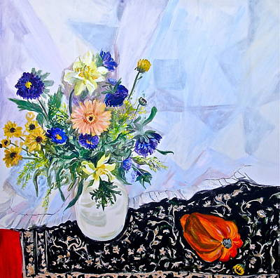 Table Cloth Painting - Little Red by Bonnie See