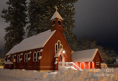 Snowy Night Photograph - Little Red Church by Idaho Scenic Images Linda Lantzy