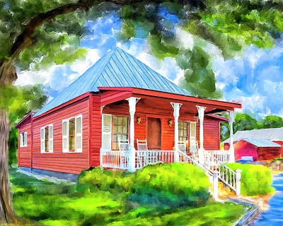 Historic Home Mixed Media - Little Red Cottage by Mark Tisdale