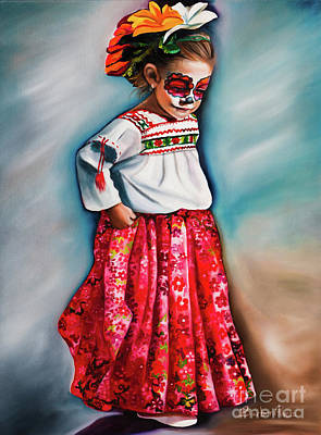 Mexican Sister Painting - Little Red Dancer by Barbara Rivera