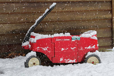 Little Red Flyer In The Snow Art Print