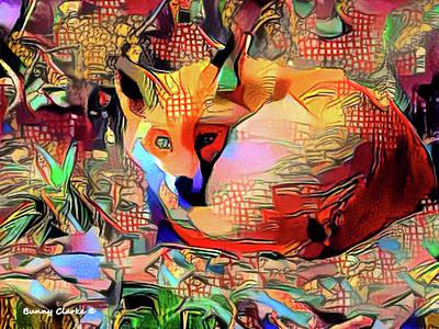 Fox Digital Art - Little Red Fox by Bunny Clarke