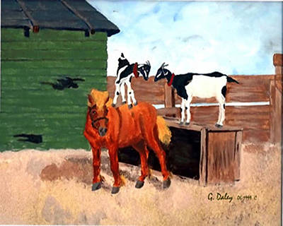 Gail Daley Wall Art - Painting - Little Red Francis And Ellie Mae by Gail Daley