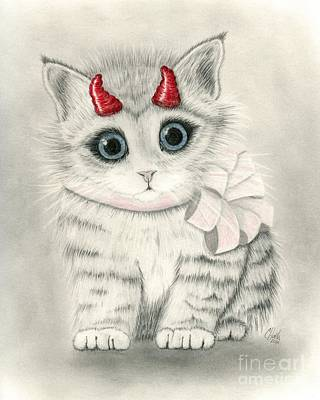 Drawing - Little Red Horns - Cute Devil Kitten by Carrie Hawks