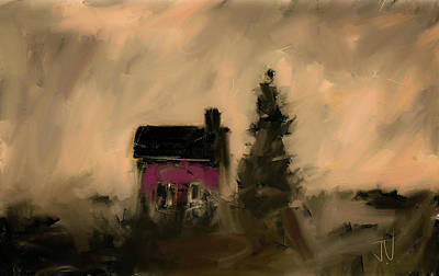 Digital Art - Little Red House II by Jim Vance