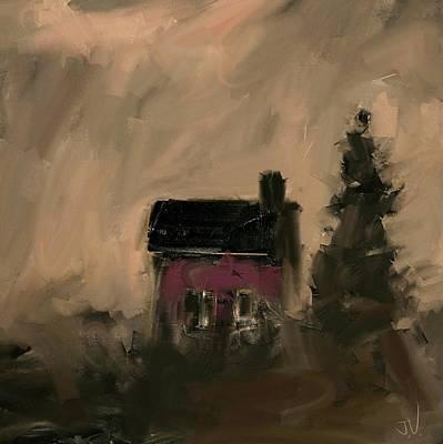 Digital Art - Little Red House by Jim Vance