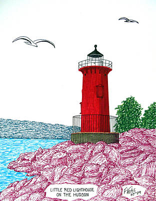 Drawing - Little Red Lighthouse On Hudson by Frederic Kohli