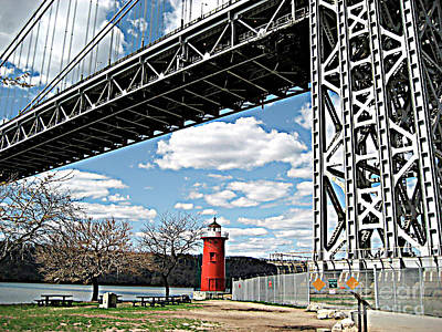 Photograph - Little Red Lighthouse Under George Washington Bridge, Nyc by Merton Allen