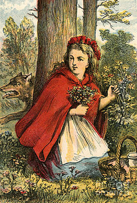 Little Red Riding Hood Painting - Little Red Riding Hood Gathering Flowers by English School
