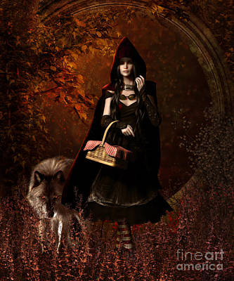 Wolves Digital Art - Little Red Riding Hood Gothic by Shanina Conway