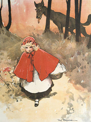 Little Red Riding Hood Painting -   Little Red Riding Hood by Tom Browne