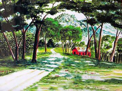 Little Red School House Art Print by John Wolfersberger