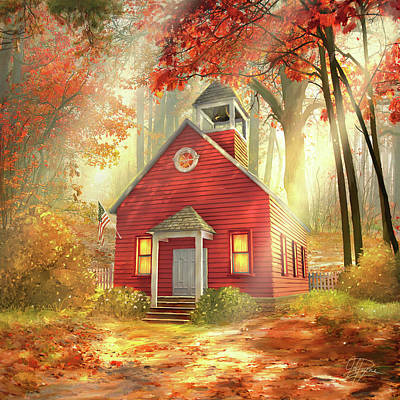 Mixed Media - Little Red Schoolhouse by Joel Payne