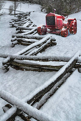 Photograph - Little Red Snowy Tractor by Debra and Dave Vanderlaan