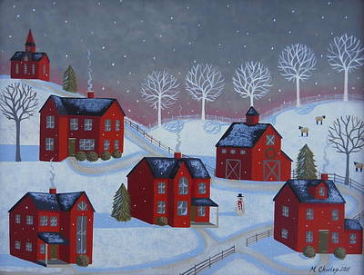 Snow Scene Landscape Painting - Little Red Village by Mary Charles