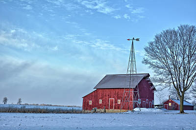 Photograph - Little Red Winter Barn by Bonfire Photography