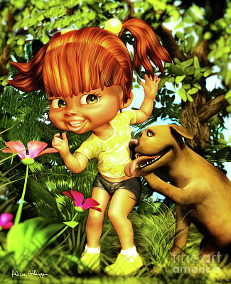 Digital Art - Little Redhead And Her Dog by Alicia Hollinger
