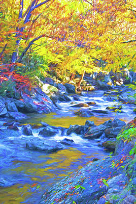 Mixed Media - Little River In Autumn by Dennis Cox Photo Explorer