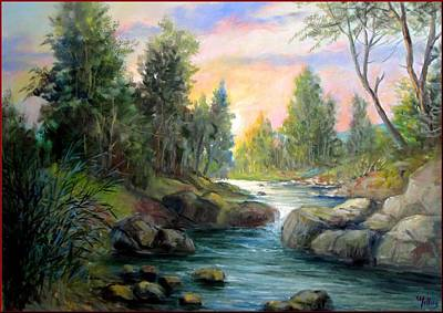 Italy Town Large Painting - Little River by Milluz