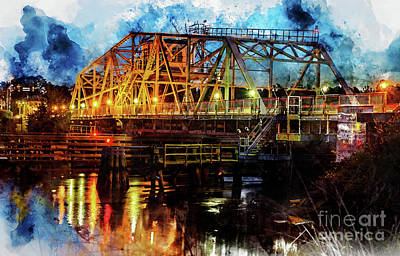 Digital Art - Little River Swing Bridge - Digital Watercolor by David Smith
