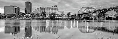 Photograph - Little Rock Arkansas Skyline Panoramic - Black And White by Gregory Ballos